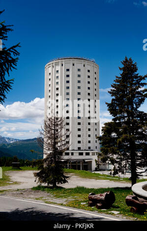 The Posssetto hotel tower in the alpine village Sestrière, built in 1921 as the first tour operator hotel (Italy, 21/06/2010) - Stock Photo