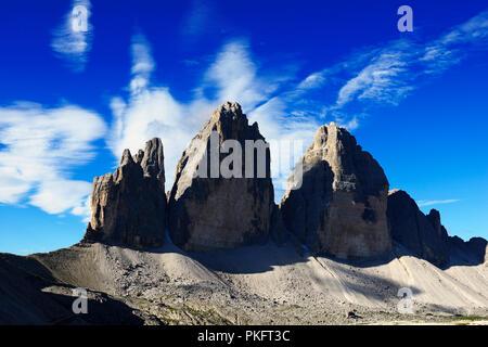 North walls of the Three Peaks of Lavaredo, Sesto Dolomites, Alta Pusteria, South Tyrol, Italy - Stock Photo