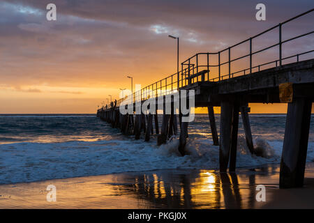 Sunset over the Jetty at Port Noarlunga South Australia on 12th September 2018 - Stock Photo