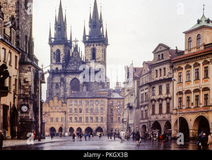 Church of Our Lady before Týn and Old Town Hall, on Old town Square, Prague taken in April 1973 in the former Czechoslovakia. Original Archive Image. - Stock Photo