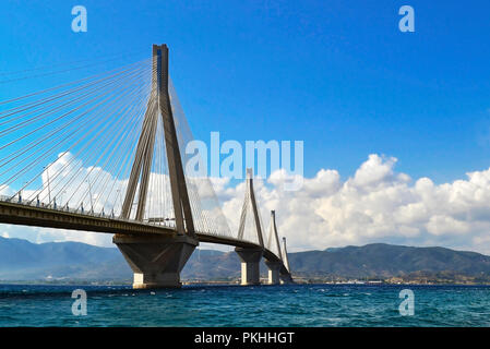 the Rio Antirio bridge or Charilaos Trikoupis bridge - crosses the Gulf of Corinth and linking the Peloponnese with the mainland Greece - Stock Photo
