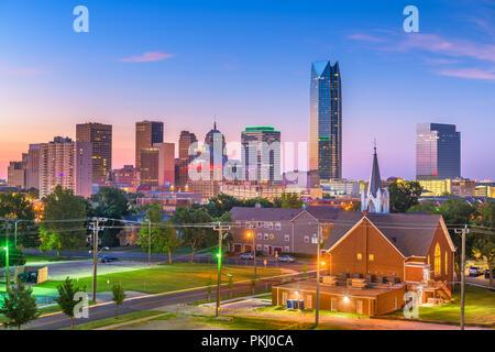 Oklahoma City, Oklahoma, USA downtown skyline at twilight. - Stock Photo