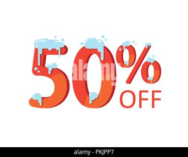 50 off. A discount of fifty percent. Numbers in the snow. Winter sale, Christmas sale, holiday sale. Flat vector illustration - Stock Photo