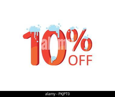 10 off. A discount of ten percent. Numbers in the snow. Winter sale, Christmas sale, holiday sale. Flat vector illustration - Stock Photo