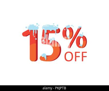 15 off. A discount of fifteen percent. Numbers in the snow. Winter sale, Christmas sale, holiday sale. Flat vector illustration - Stock Photo