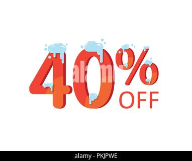 40 off. A discount of forty percent. Numbers in the snow. Winter sale, Christmas sale, holiday sale. Flat vector illustration - Stock Photo