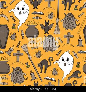 Hand-drawn Halloween colorful seamless pattern with doodles. - Stock Photo