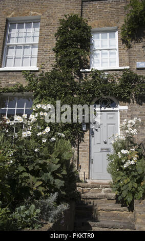 Detail of front of a house in Downshire Hill, Hampstead, London NW3, England, UK - Stock Photo