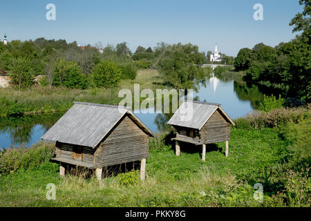 Storage shed nineteenth century on the banks of the river in Suzdal. Russia - Stock Photo