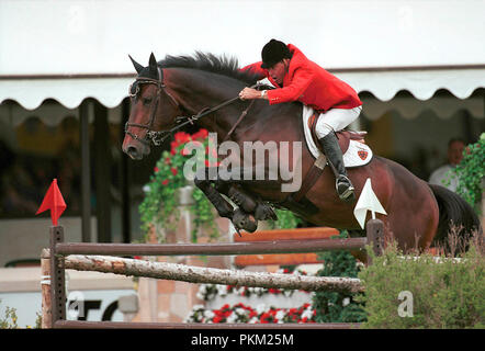 The National, Spruce Meadows, June 2001, Hap Hansen (USA) riding Jaguar, Akita Drilling Cup, Hap Hansen (USA) riding Jaguar - Stock Photo