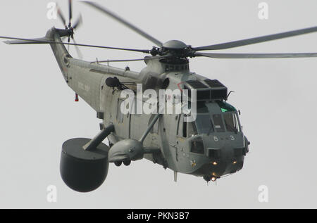 FILE IMAGE The Royal Navy Sea King ASaC MK 7 are to make a final flypast over the South West of England on the 18th September 2018 to Mark the end of forty nine years of service with the Fleet Air Arm 849 NAS have flown the Air Bourne Early Warning version of the Sea King since 1982 Here the picture shows in aircraft from HMS INvincible in 2003 - Stock Photo