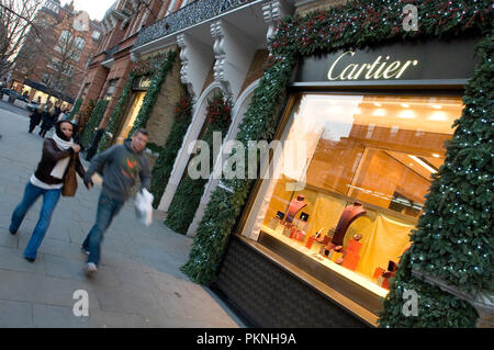Cartier luxury jewellery store in Sloane Street , Chelsea , London , England . December 2007 - Stock Photo