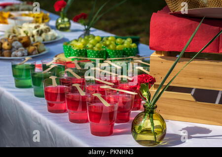 Red carnation and gel desserts - Stock Photo