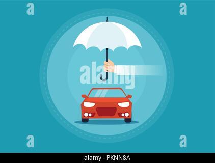 Vector of a car under umbrella as a symbol for automobile insurance concept. - Stock Photo
