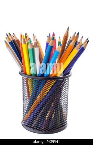 colored pencils in a metal stand - Stock Photo