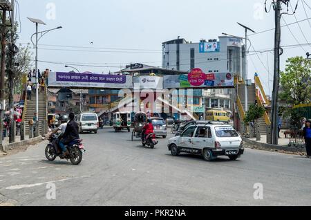 Kathmandu, Nepal - April 16, 2016: The lifestyle and environment of major streets in Kathmandu, Nepal. - Kathmandu is the capital and largest municipa - Stock Photo