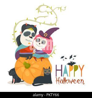 Cute couple in love sitting on pumpkin. Happy Halloween - Stock Photo