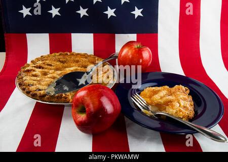 Patriotic concept, American Pie with flag. - Stock Photo