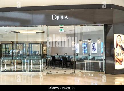 AVENTURA, USA - AUGUST 23, 2018: Djula Jewelry Paris famous boutique in Aventura Mall. - Stock Photo