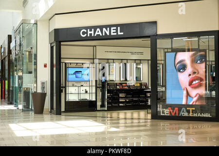 AVENTURA, USA - AUGUST 23, 2018: Chanel famous french boutique in Aventura Mall. - Stock Photo
