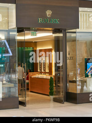 AVENTURA, USA - AUGUST 23, 2018: Rolex famous boutique in Aventura Mall. Rolex is a Swiss luxury watchmaker company - Stock Photo