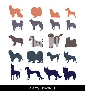 Dog silhouettes isolated on white background.  Different dog breed silhouettes collection. - Stock Photo