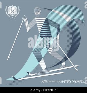 Stripy cross-country skier in action - Stock Photo