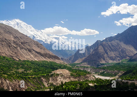 Karimabad, Hunza Valley, Gilgit-Baltistan, Pakistan : Rakaposhi mountain and Hunza Valley in the Karakoram range. At 7,788 m (25,551 ft) Rakaposhi is  - Stock Photo