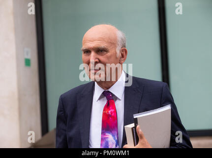 London, UK. 16th Sep, 2018. Sir Vince Cable, Leader of the Liberal Democrat Party,  leaves the BBC in Central London after appearing on The Andrew Marr Show. Credit: Mark Thomas/Alamy Live News - Stock Photo