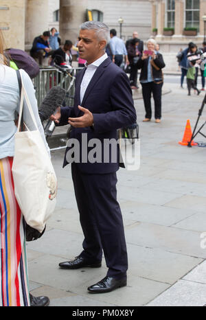 London, UK. 16th Sep, 2018. Sadiq Khan, Mayor of London, gives an interview after appearing on The Andrew Marr Show at  the BBC in Central London. Credit: Mark Thomas/Alamy Live News - Stock Photo