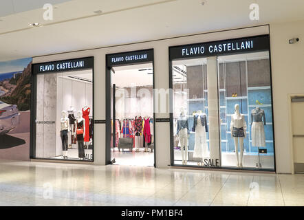AVENTURA, USA - AUGUST 23, 2018: Flavio Castellani famous boutique in Aventura Mall. Flavio Castellani creates clothes for women. - Stock Photo