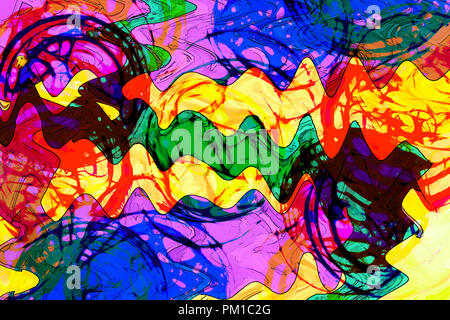 art abstract colorful vibrant paint background  in red, yellow, green and blue colors - Stock Photo