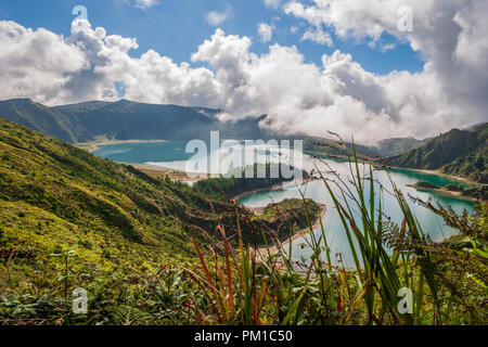 view of Lagoa do Fogo lake of fire on the island of sao miguel azores  a crater lake within the Água de Pau Massif stratovolcano - Stock Photo