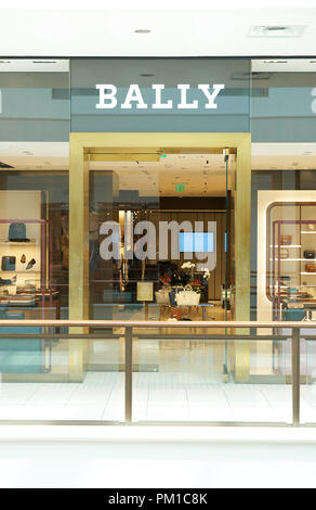AVENTURA, USA - AUGUST 23, 2018: Bally famous boutique in Aventura Mall. Bally is a Swiss luxury fashion company - Stock Photo