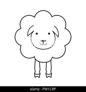 Cartoon sheep animal. Line lamb, outline icon. Wool textile sign, black and white. Fabric icon - Stock Photo