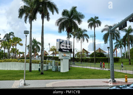 MIAMI, USA - AUGUST 22, 2018: Bayfront Park is a public, urban park in Downtown Miami, Florida on Biscayne Bay. - Stock Photo