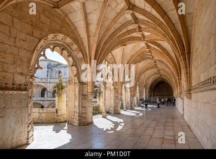 Upper Cloisters of the Jeronimos Monastery ( Mosteiro dos Jerónimos ), Belem district, Lisbon, Portugal - Stock Photo