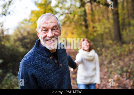 A portrait of a senior couple walking in an autumn nature. - Stock Photo