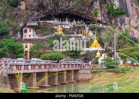 Entrance to Yathaypyan Cave, Hpa An, Myanamar - Stock Photo