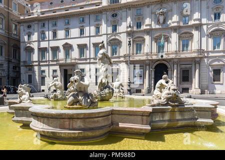 Fontana del Moro, Piazza Navona, Rome, Italy - Stock Photo