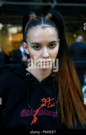 London, UK. 17th Sep 2018. Fashionista attend London Fashion Week SS19 street photography at the Strand, London, UK. 17 September 2018. Credit: Picture Capital/Alamy Live News - Stock Photo
