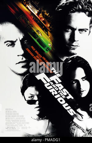 'The Fast and the Furious' - US Poster 2001 Universal Pictures  Paul Walker, Vin Diesel, Michelle Rodriguez, Jordana Brewster  File Reference # 32509_147THA - Stock Photo