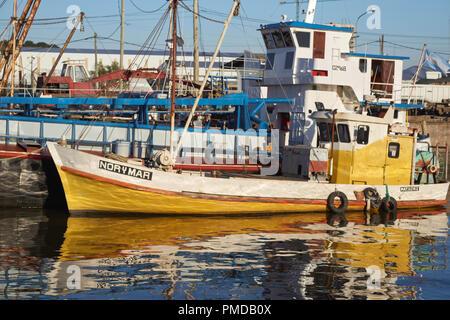 Cargo ships in the 'Puerto de Frutos' of El Tigre, the old fruit market port near Buenos Aires, Argentina - Stock Photo