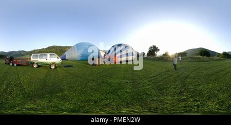 Hot air balloons in la Garrotxa, Spain 2 - Stock Photo