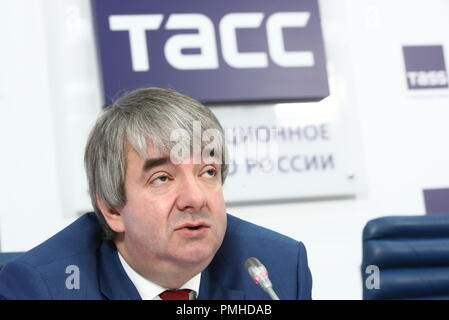 Moscow, Russia. 19th Sep, 2018. MOSCOW, RUSSIA - SEPTEMBER 19, 2018: Vsevolod Vukolov, head of the Russian Federal Service for Labour and Employment, during a press conference on the finals of the 1st National Skills Championship for people over 50 (WorldSkills Russia). Valery Sharifulin/TASS Credit: ITAR-TASS News Agency/Alamy Live News - Stock Photo