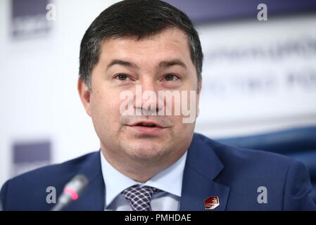 Moscow, Russia. 19th Sep, 2018. MOSCOW, RUSSIA - SEPTEMBER 19, 2018: Robert Urazov, Director General of the Young Professionals Union (WorldSkills Russia), during a press conference on the finals of the 1st National Skills Championship for people over 50 (WorldSkills Russia). Valery Sharifulin/TASS Credit: ITAR-TASS News Agency/Alamy Live News - Stock Photo