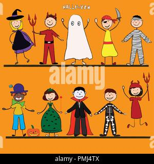 Happy Halloween. Funny little children in colorful costumes. Vector illustration. Icon - Stock Photo