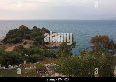 Bataria Beach and Peninsula from the Castle, Kassiopi, Corfu, Greece - Stock Photo