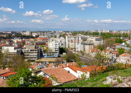 View of the city from the architectural complex on Nebet Tepe, one of the five hills in Plovdiv, Bulgaria. - Stock Photo