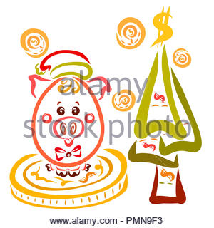 Funny piglet in a Christmas hat, Christmas tree and falling coins - Stock Photo
